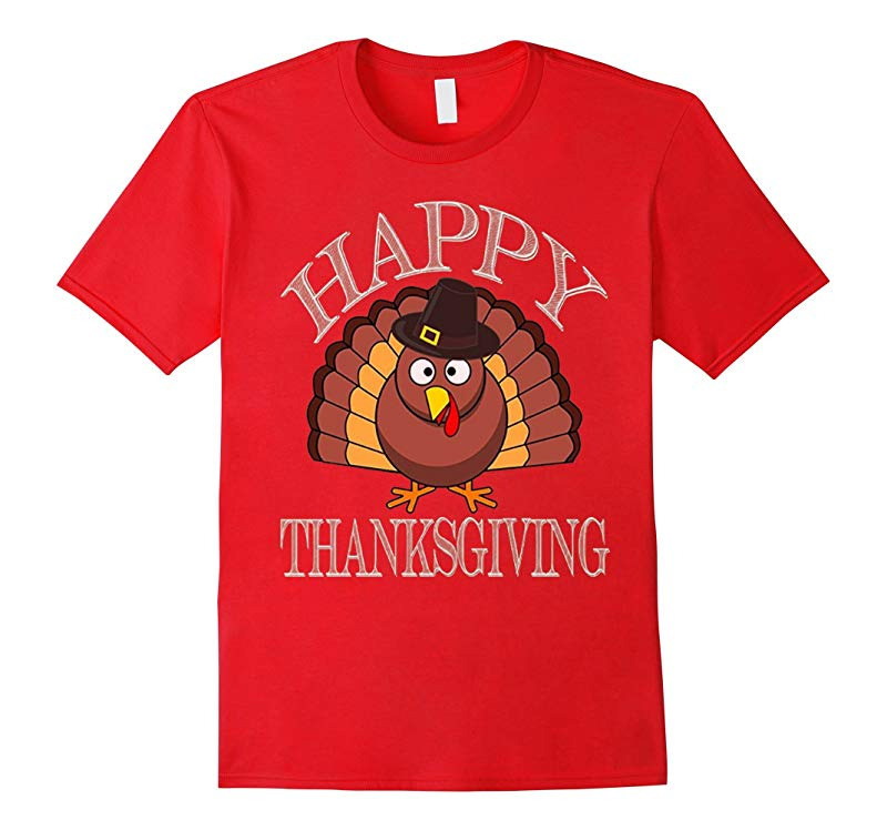 Youth Happy Thanksgiving Turkey Pilgrim Hat T-Shirt-RT