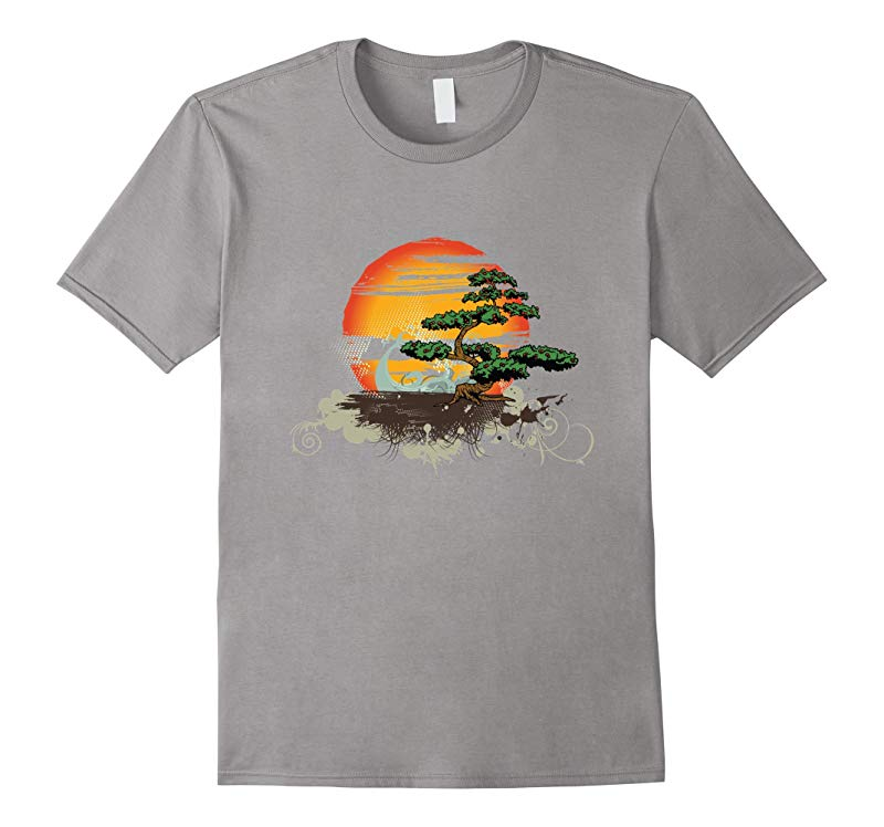 Bonsai Style Tree Sunset or Sunrise T-Shirt-TD