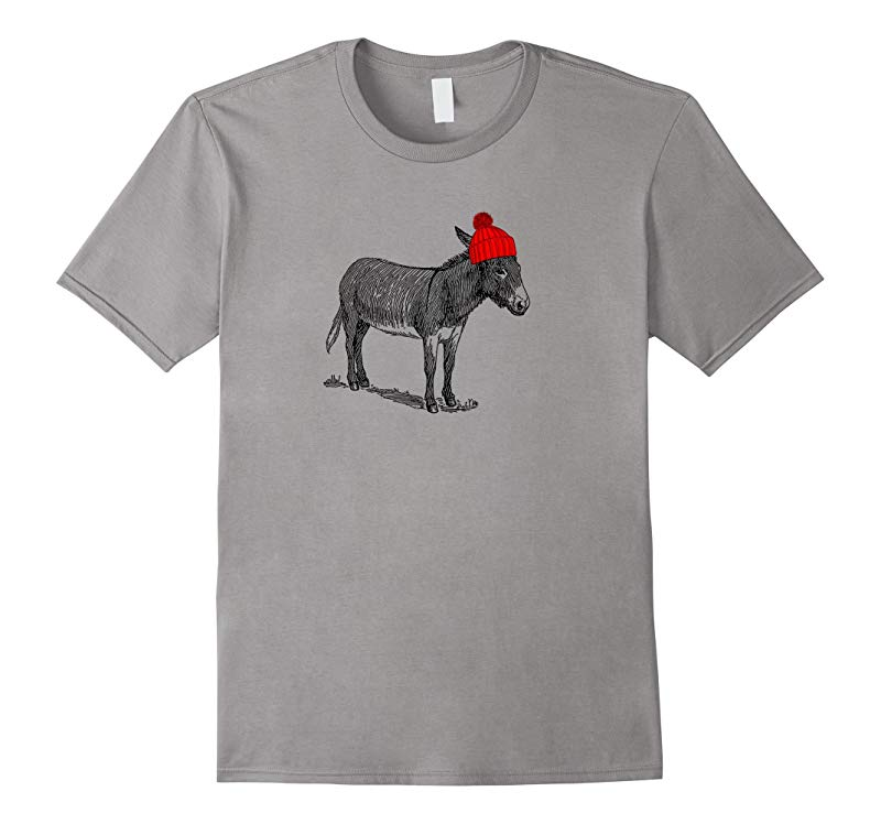 Donkey Burro Mule Wearing a Beanie Hat T-Shirt-RT