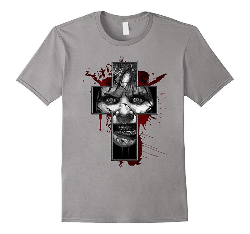 Regans Exorcist Cross Horror Tee-RT