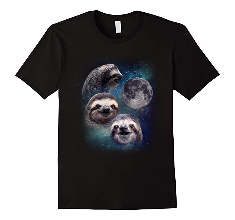 Three Wolf Moon Shirt Parody Three Baby Sloth Moon T Shirt-RT