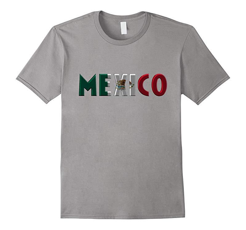 MEXICO - Mexican Flag Colors Letters Souvenir T-shirt-RT