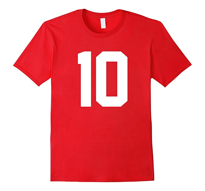 #10 Team Sports Jersey Number Front & Back Player / Fan Tee-CL