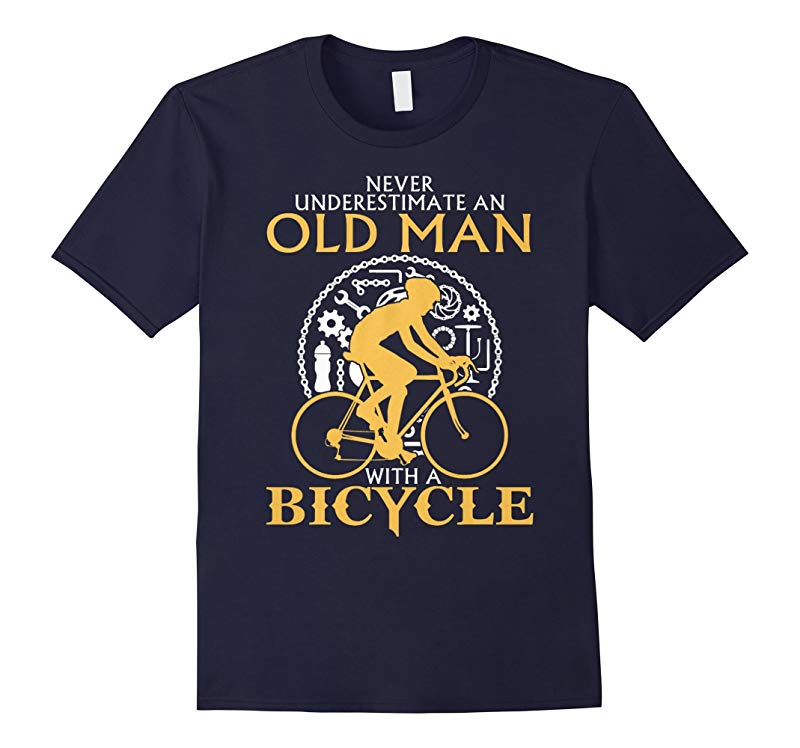 Men's Never Underestimate An Old Man With A Bicycle T Shirt-RT