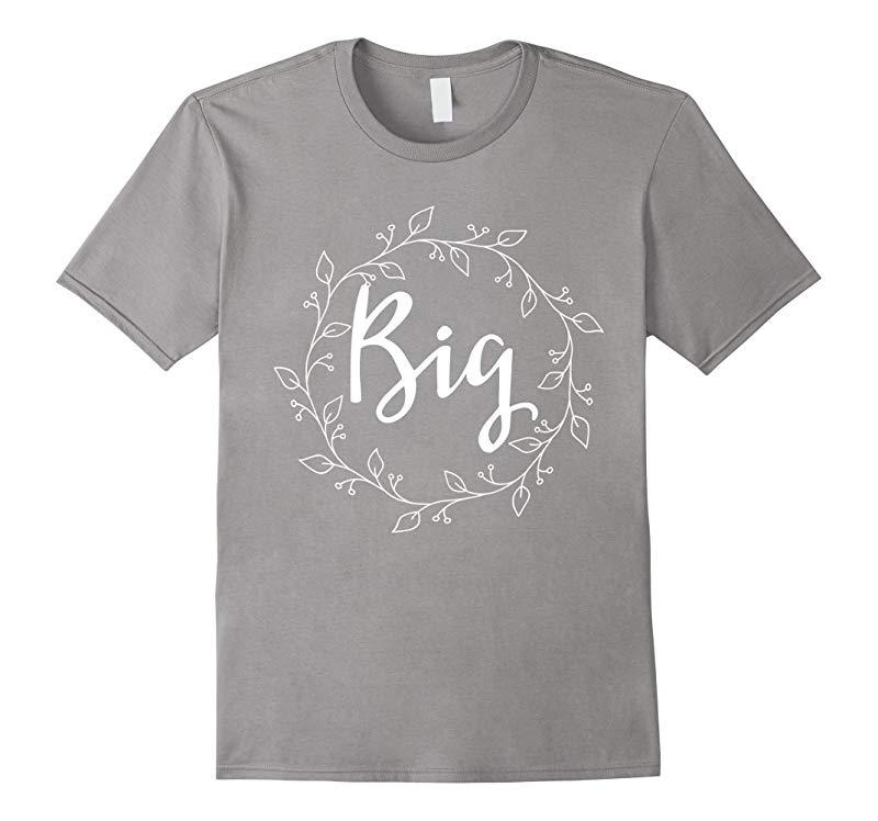 Big Sister Matching Sorority Wreath Floral T-Shirt-RT