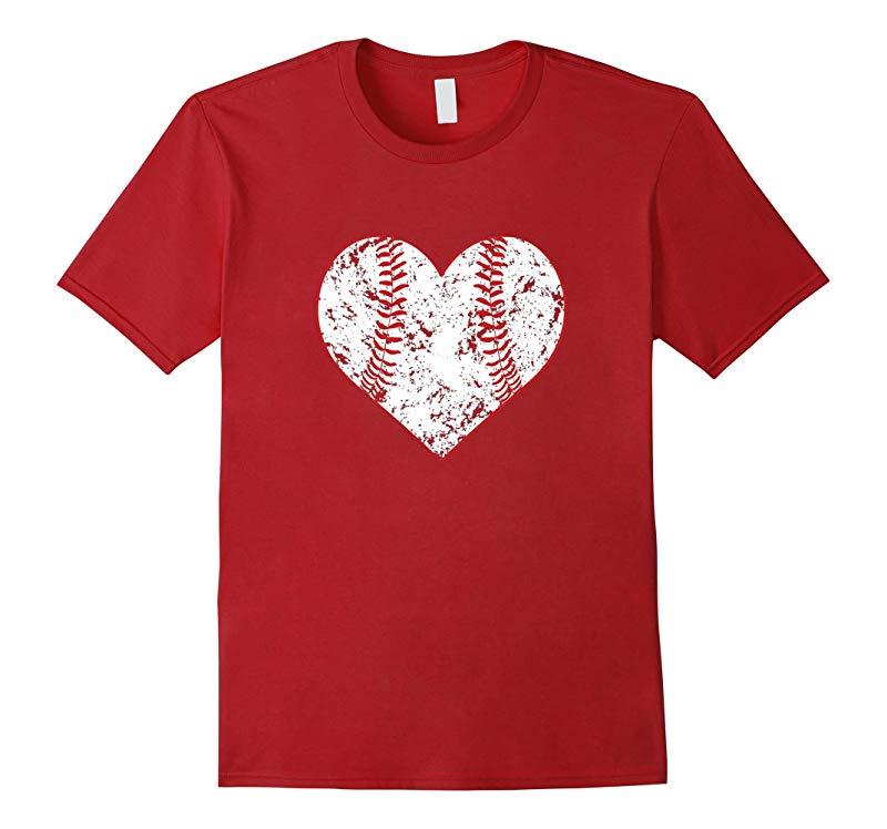 Baseball Distressed Heart T-Shirt Cute Mom Love Tee-RT