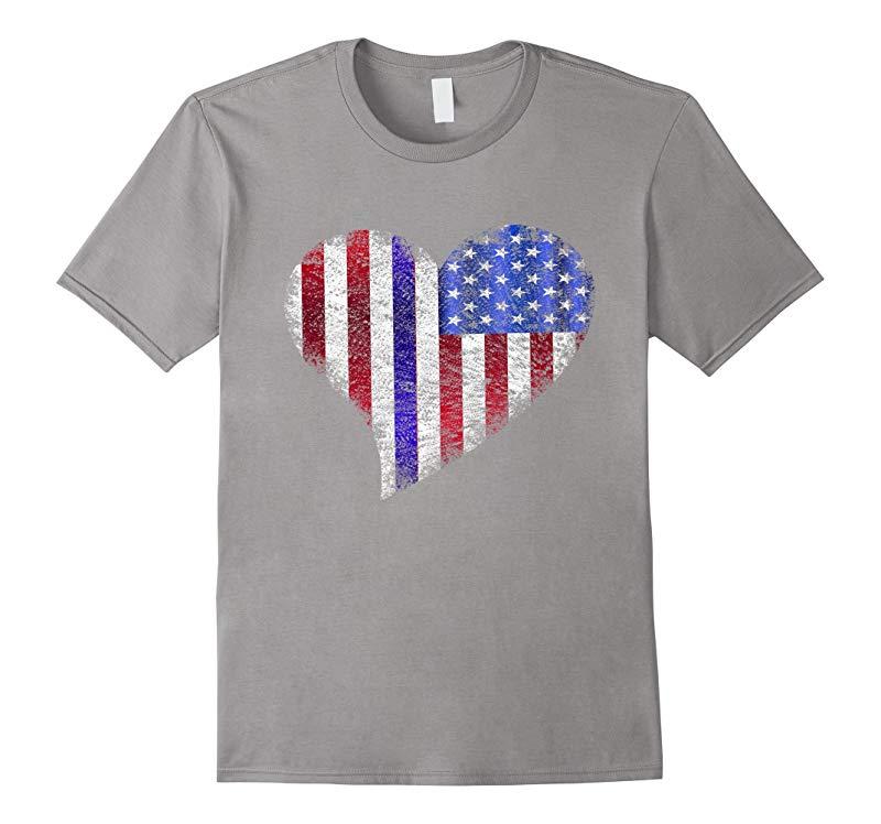 Blue lives Matter Thin Blue Line Heart Flag Police Shirt-RT