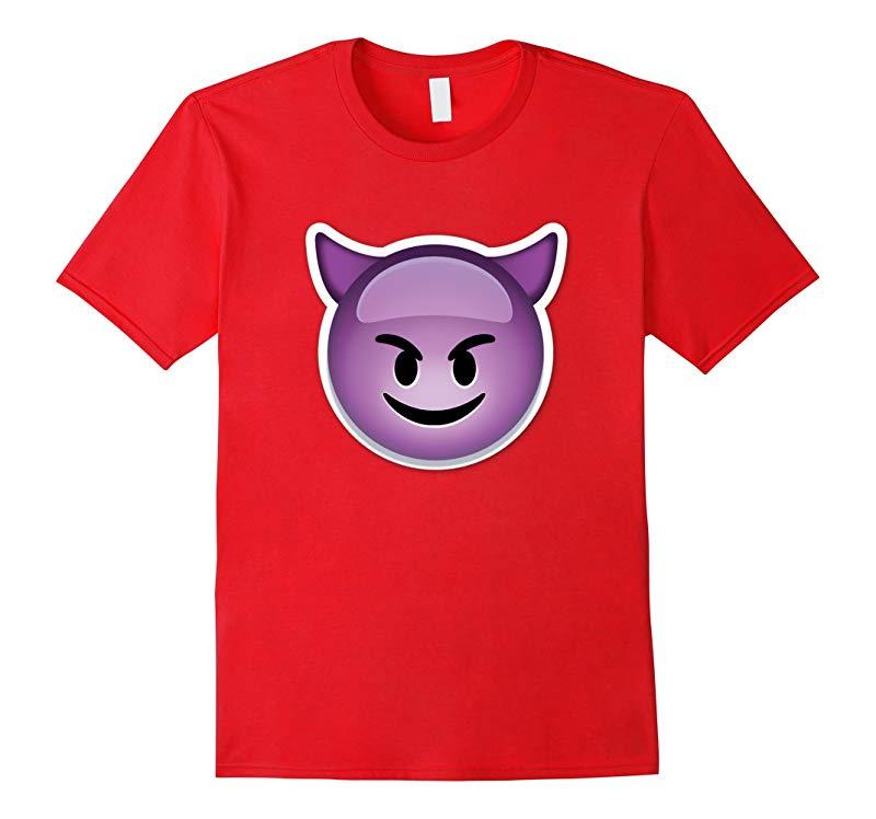 Purple Devil Smiley Emoji T-Shirt With Horns Emoticon evil-RT