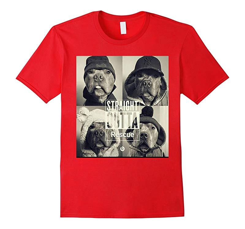 Straight Outta Rescue T-Shirt - Pit Bull Dog Shirt-BN