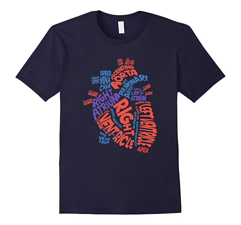 Anatomical Heart Shirt Cardiac Nurse Tshirt Parts of Heart-ANZ