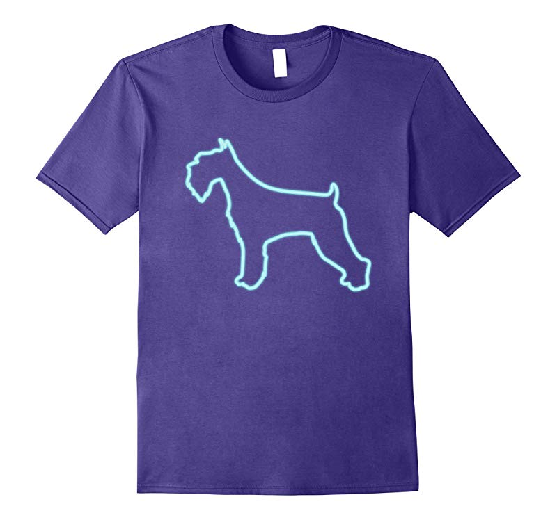 80s Retro Neon Sign Schnauzer Dog T-Shirt. 80's Gift-ANZ