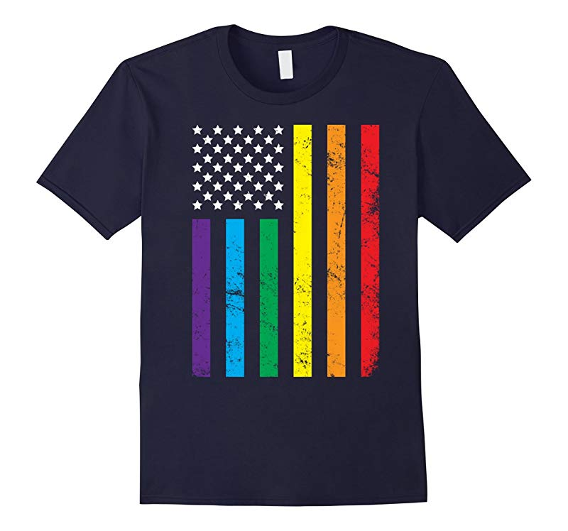United States LGBT Rainbow Flag Gay Lesbian Pride T-shirt-RT