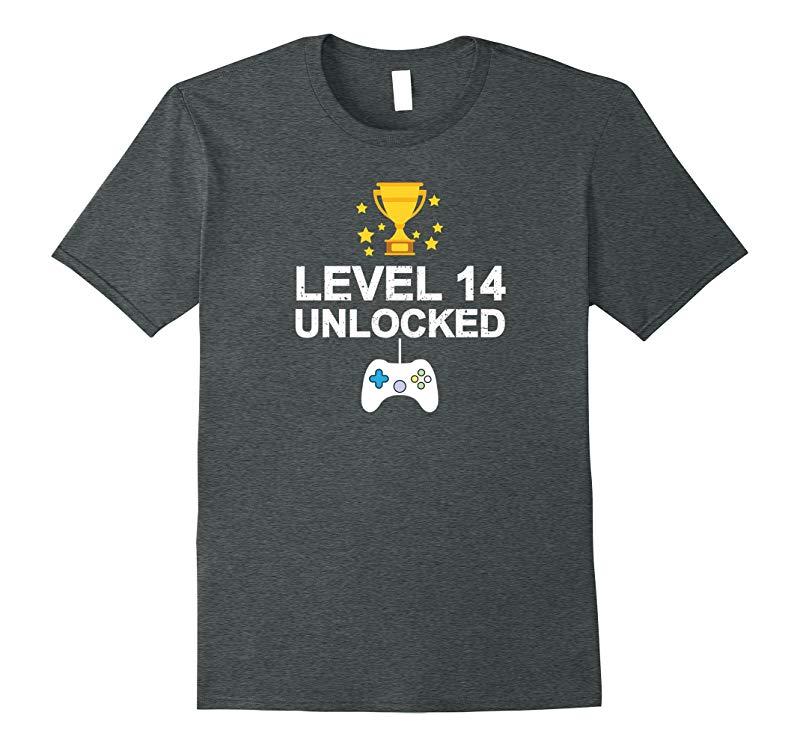 14th Birthday Level 14 Unlocked Funny T-shirt Gamer Gift Kid-RT