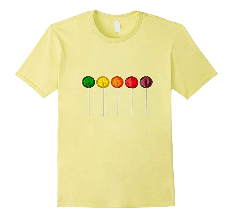 Colorful Classic Lollipops T-Shirt Round Hard Candy on stick-RT