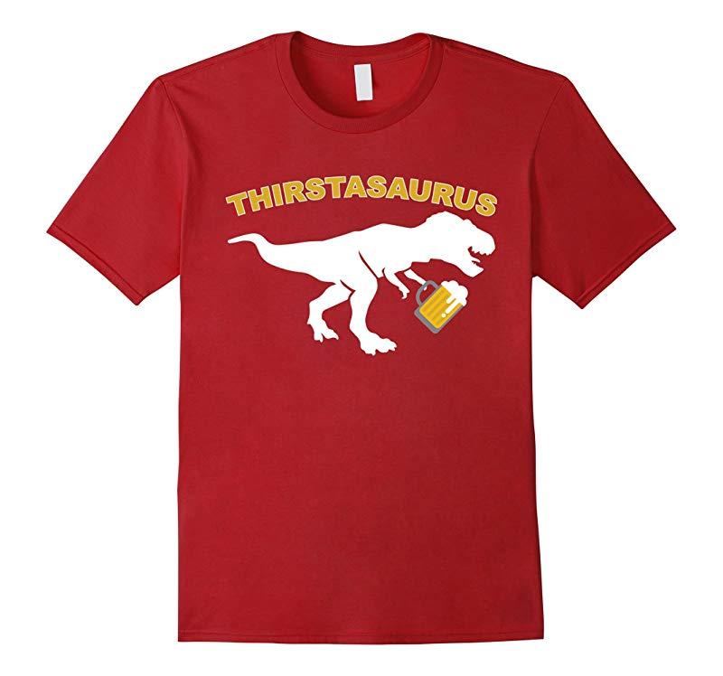 Funny Dinosaur drinking Shirt T-Rex Beer T-Shirt-RT