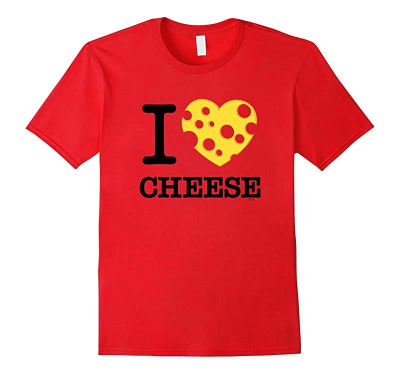 I Love Cheese T-Shirt Holey Cheese Heart Design Tee-CD