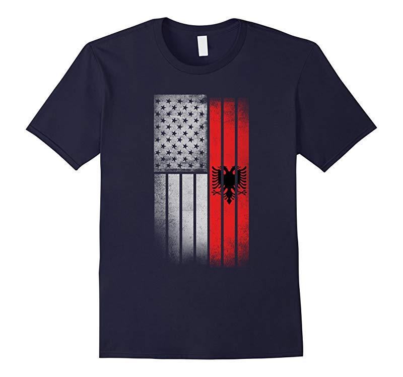 Albanian American Flag - USA Albania Flag T Shirt-RT