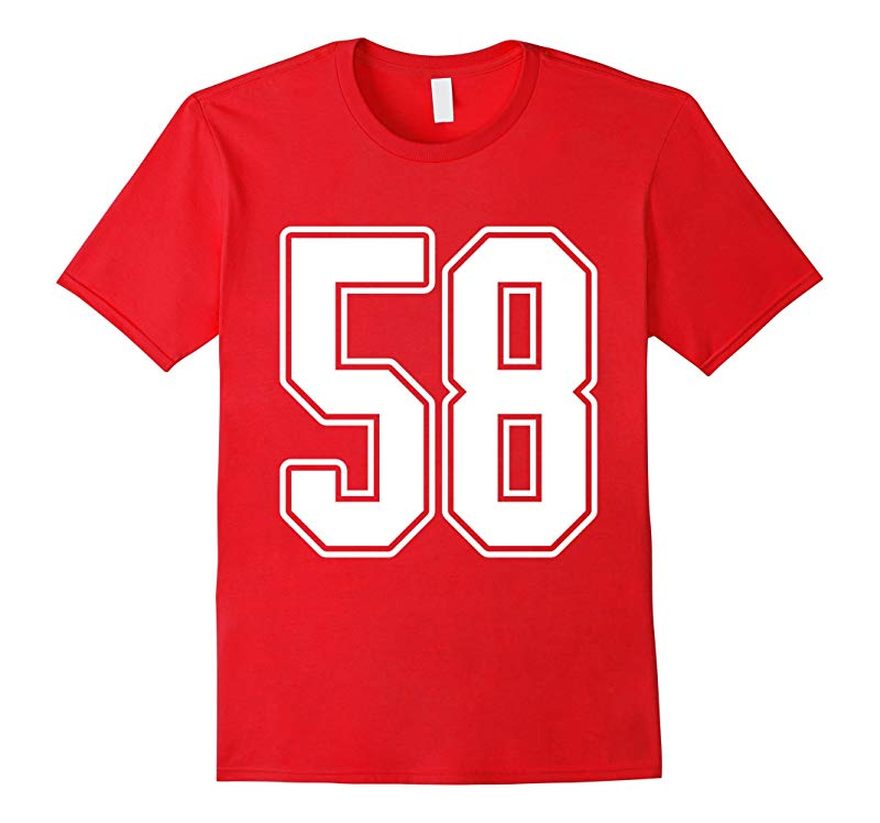 #58 White Outline Number 58 Sports Fan Jersey Style T-Shirt-ANZ