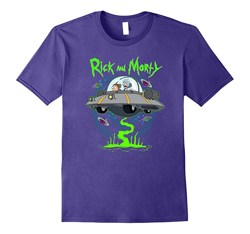 Rick & Morty Spaceship w Planets and Green Goo-T-Shirt