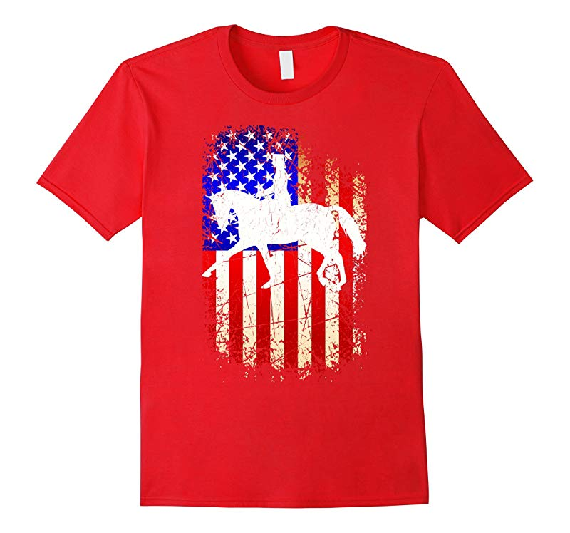 4th of July Dressage Shirt Patriotic American Flag T-Shirt-PL