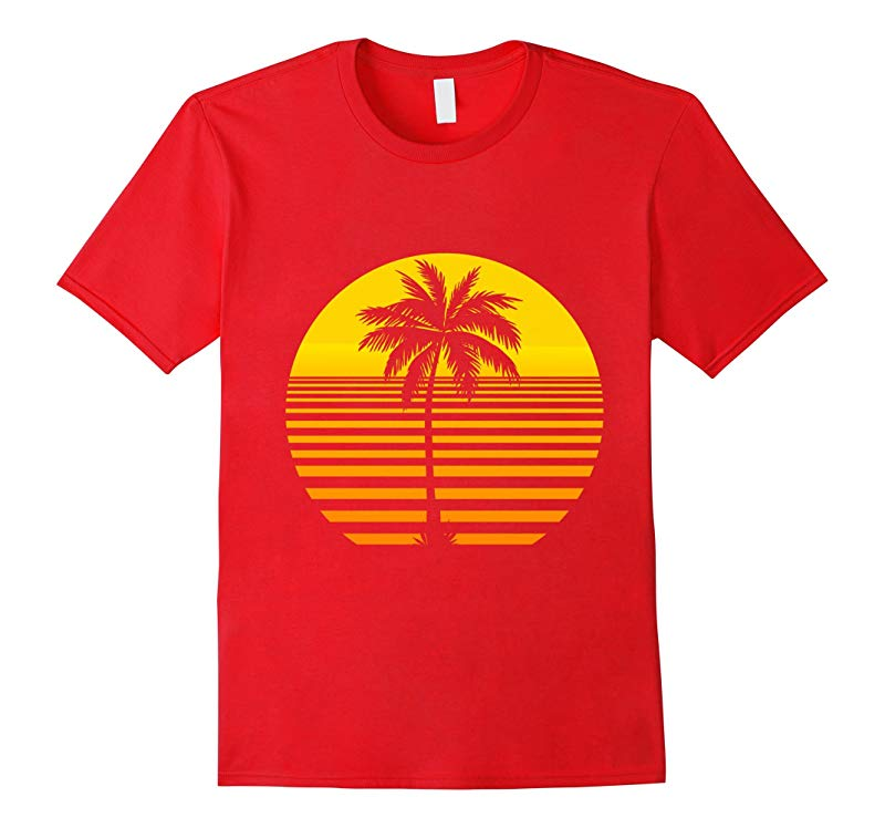 5 Different Colors Available Retro Sun and Palm Tree T-Shirt-RT