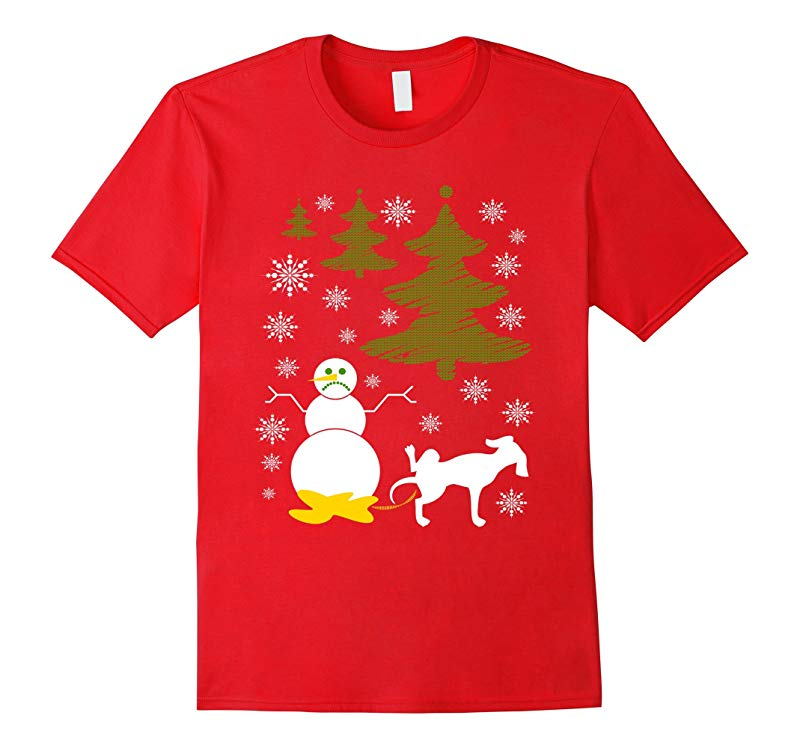 Dog Pees on Snowman Ugly XMas Sweater Tee Men Women Youth-RT