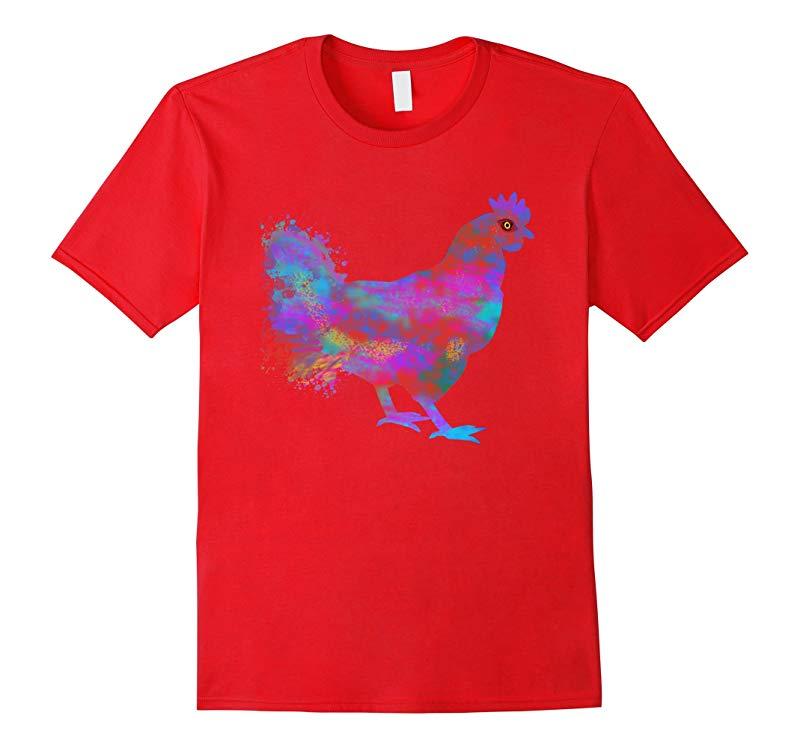 Chicken T-Shirt Watercolor Splash Love Chickens Tee Shirt-RT