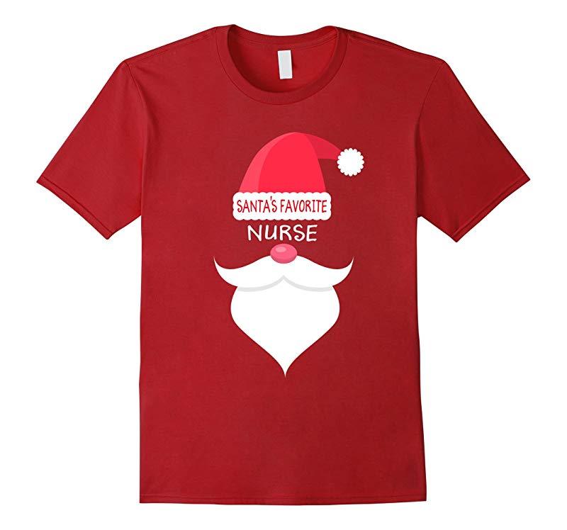 Funny Christmas Nursing T-shirt, Santa's Favorite Nurse-ANZ