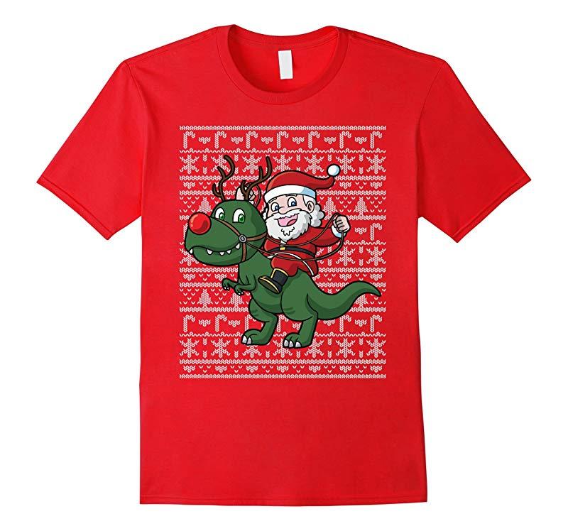Christmas Santa Claus T Rex Shirt-RT