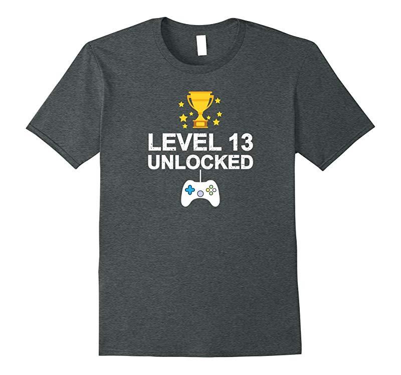 13th Birthday Level 13 Unlocked Funny T-shirt Gamer Gift Kid-RT