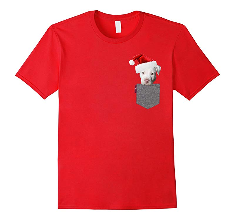 Funny White Pitbull in a Pocket Cute Christmas Tshirt-RT
