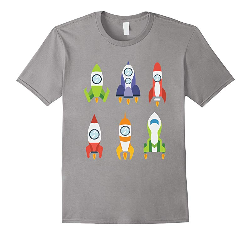 Cute Six Rockets Colorful Spaceship Space T-shirt-RT