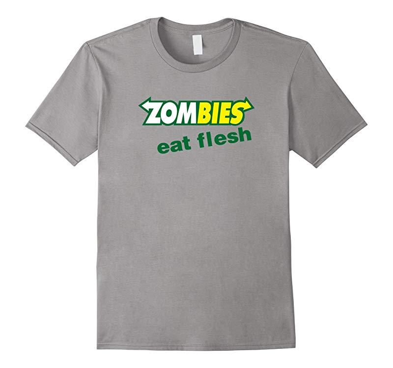 Funny Zombies Eat Flesh Scary Food Halloween Costume T Shirt-RT