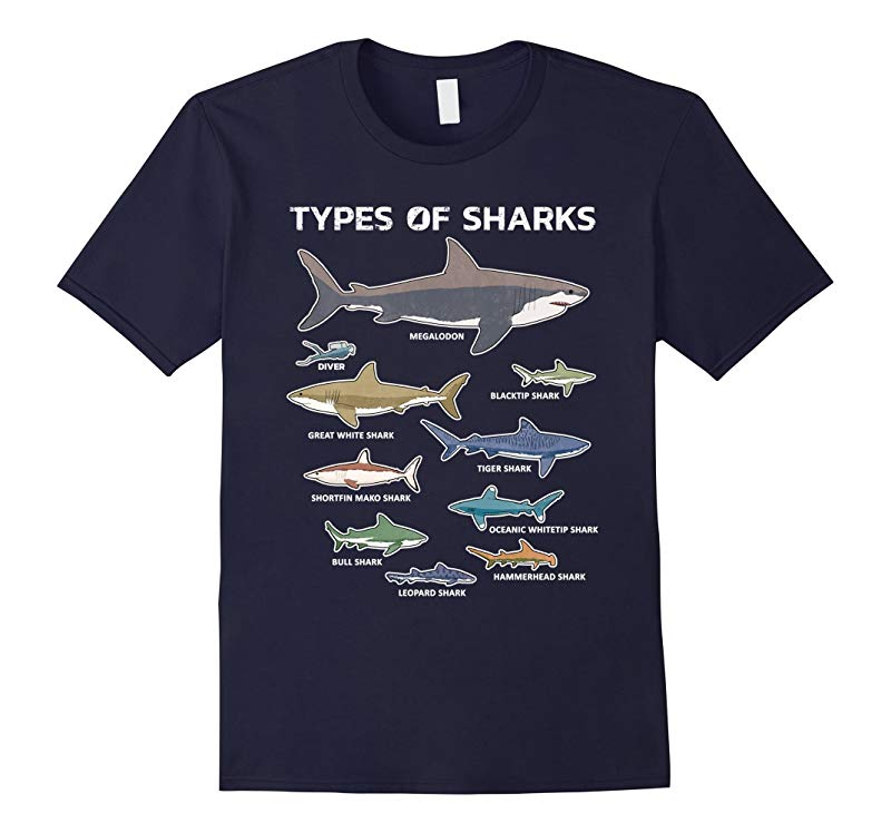 9 Types Of Sharks T-Shirt Educational Colorful Ocean Tee-RT