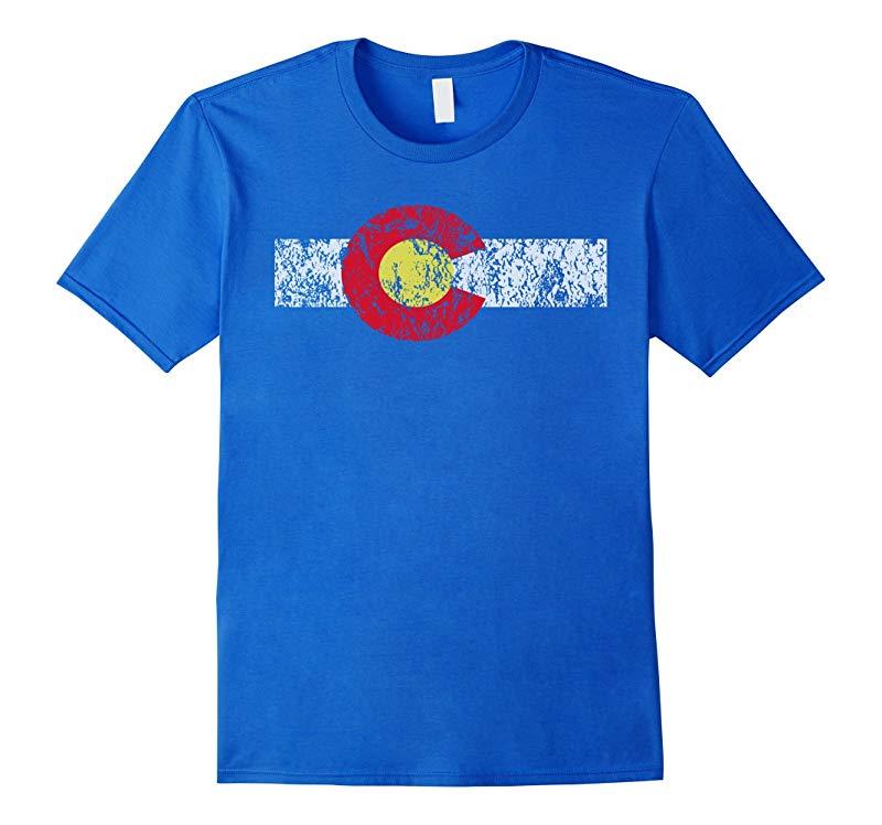 Distressed Colorado State Flag TShirt Denver Co Patriotic-RT