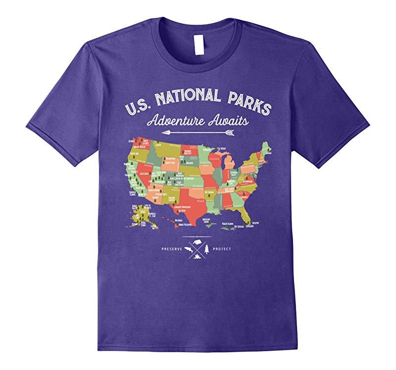National Park Map Vintage T Shirt - All 59 National Parks-BN