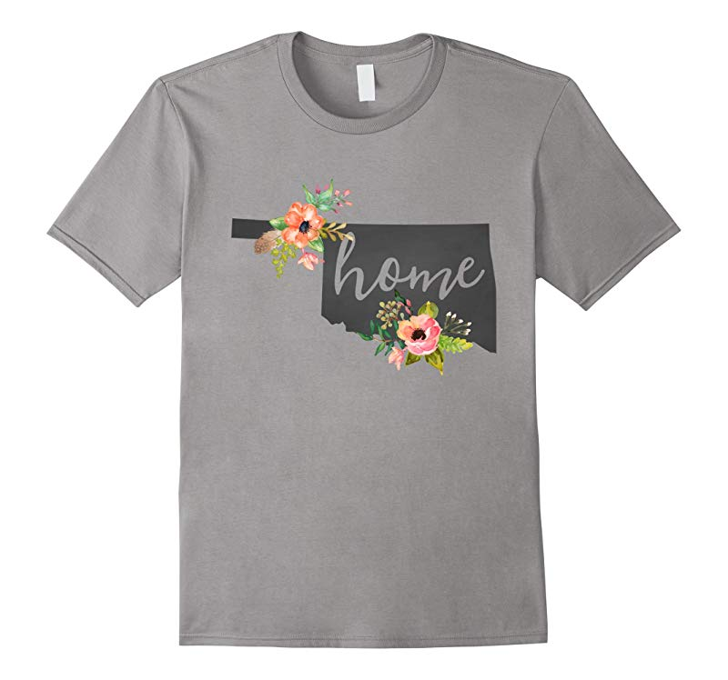 Oklahoma Home Chalkboard Watercolor Flowers State T-Shirt-RT