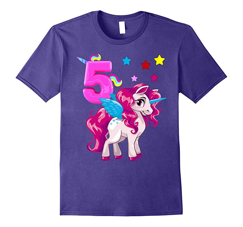 unisex-child Little Girl 5 Year Old Shirt Unicorn 5th TShirt-RT