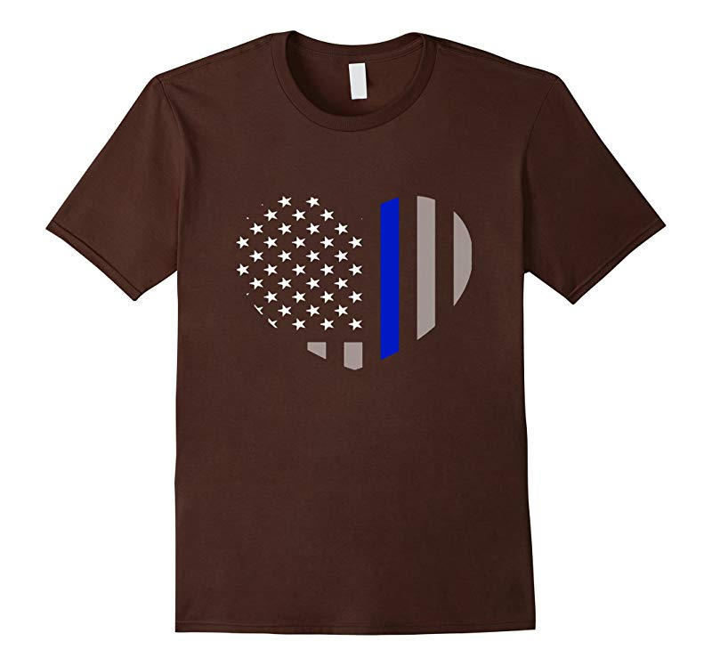 Blue Lives Matter Blue Line - Heart Flag Police Tshirt-RT