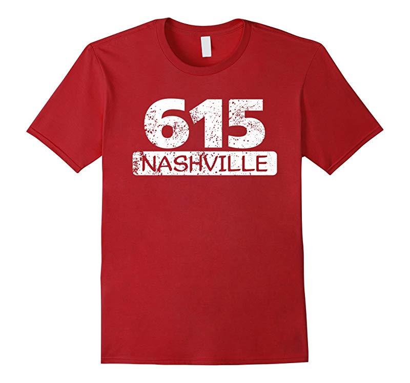 Vintage 615 Nashville Tennessee Area Code Distressed T-Shirt-PL
