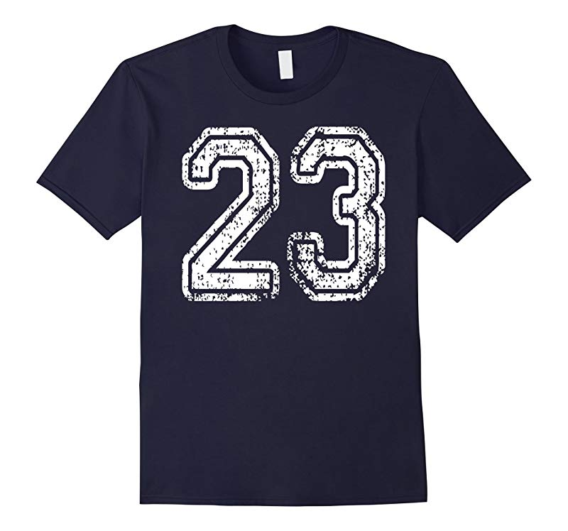#23 Numbered Sports Team T-Shirt Grungy, both sides in WHITE-RT