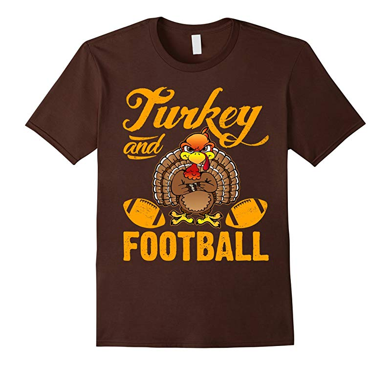 Funny Turkey And Football T-Shirt Thanksgiving Day Outfit-ANZ