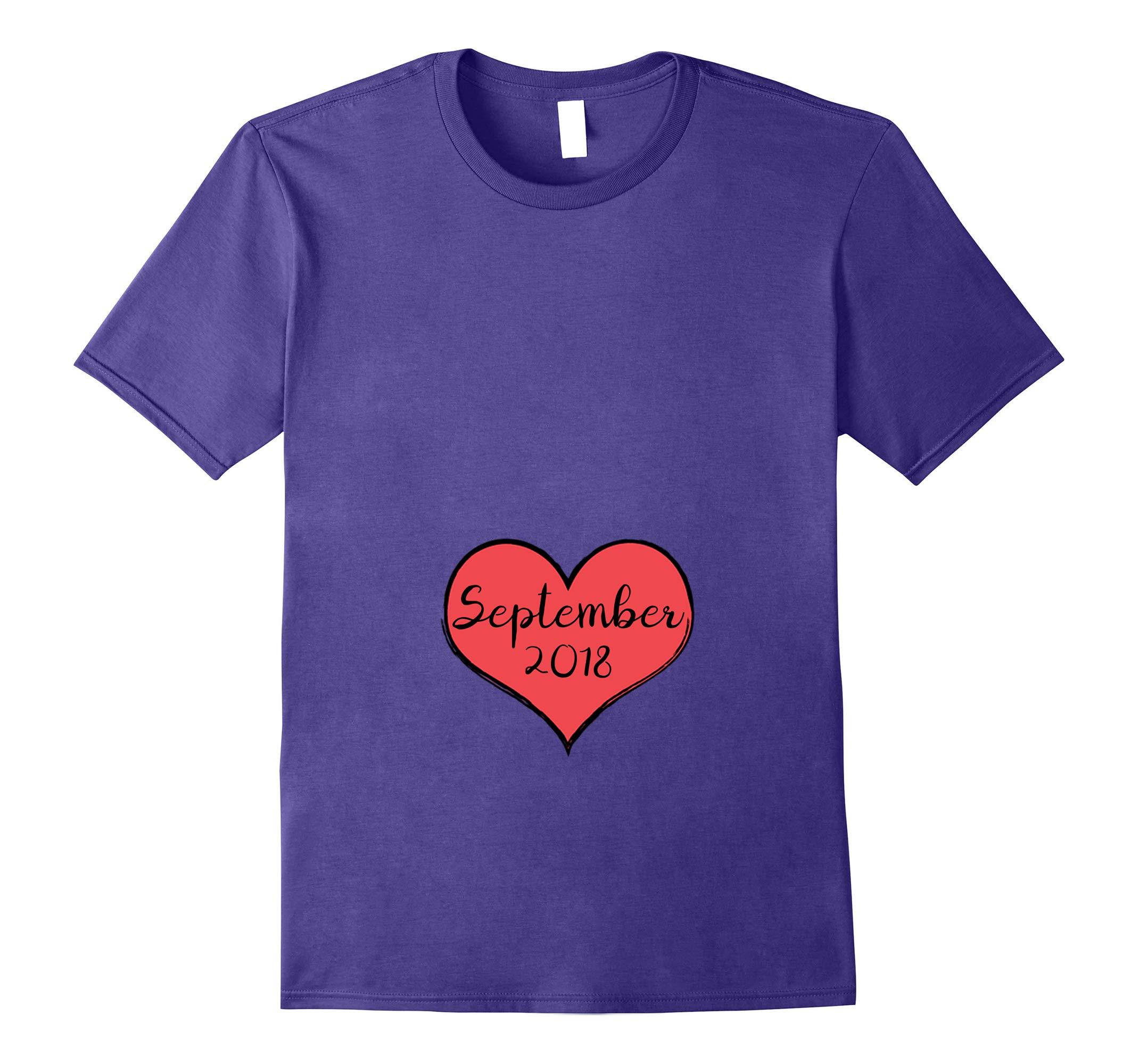 Pregnant Heart September Valentine's Announcement Shir-RT