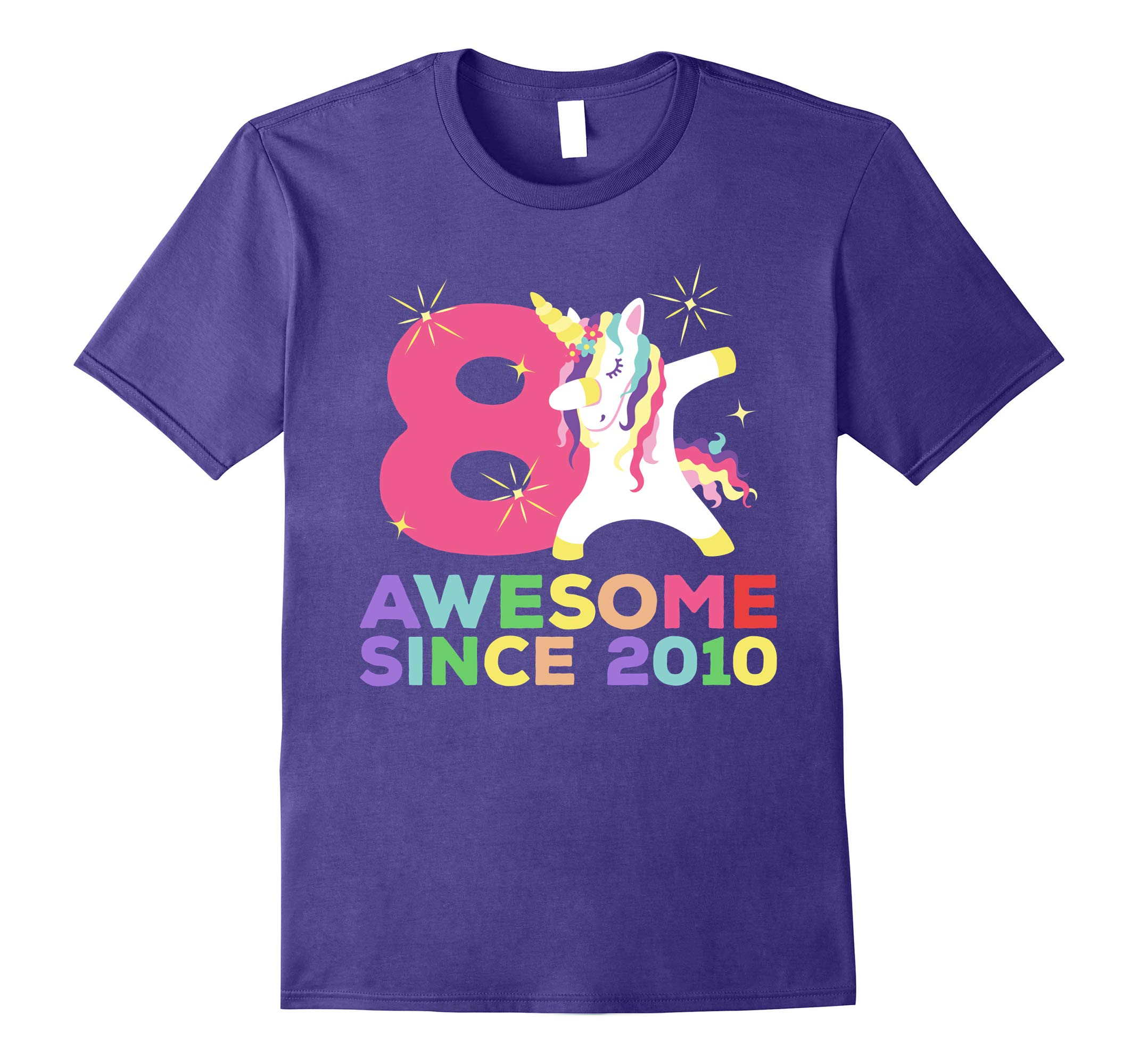 8th B-day T-Shirt - Unicorn Dabbing Awesome Since 2010-RT