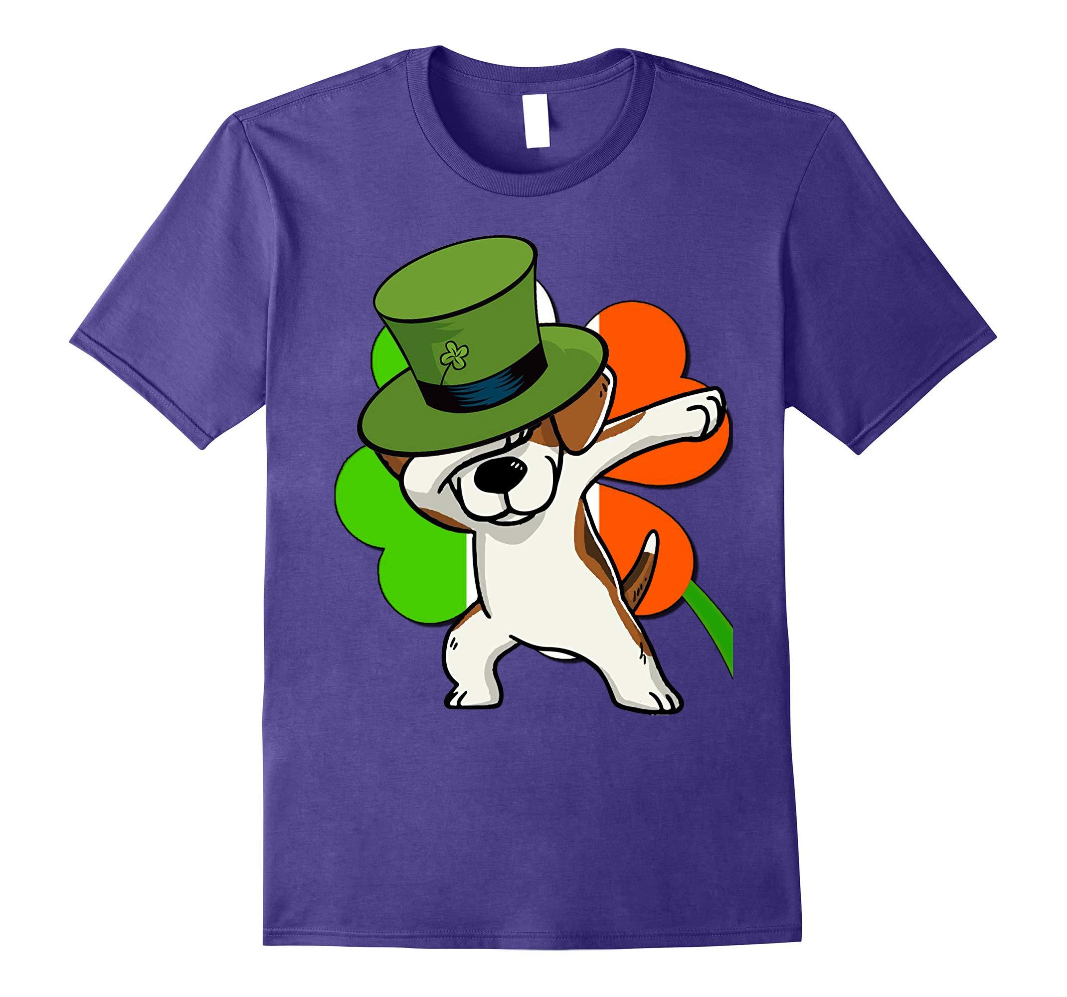 Beagle Dog Dabbing - Irish-Flag shamrock Funny Tshirt-RT