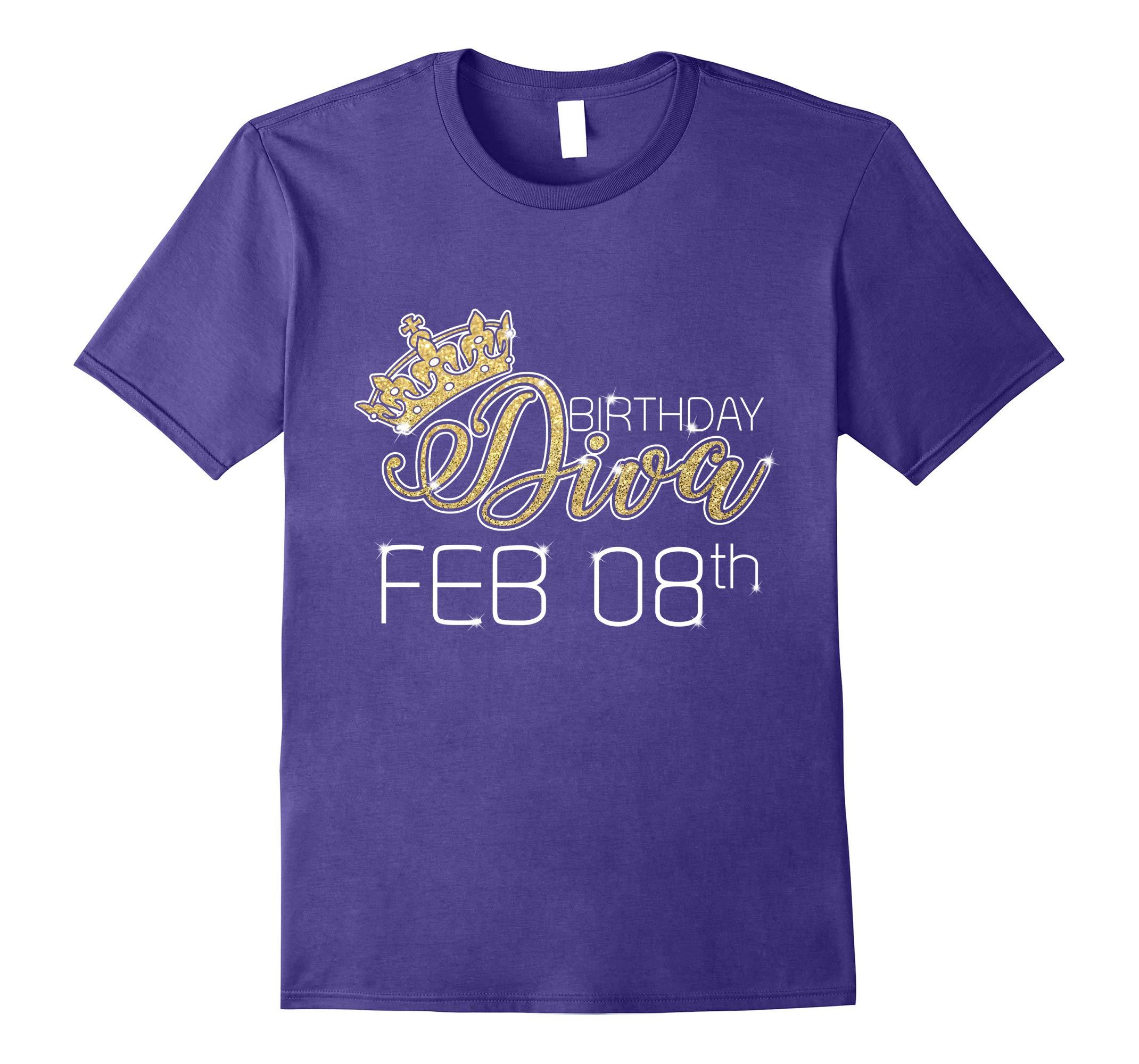 Birthday Diva on February 8th T-shirt Aquarius Pride-RT