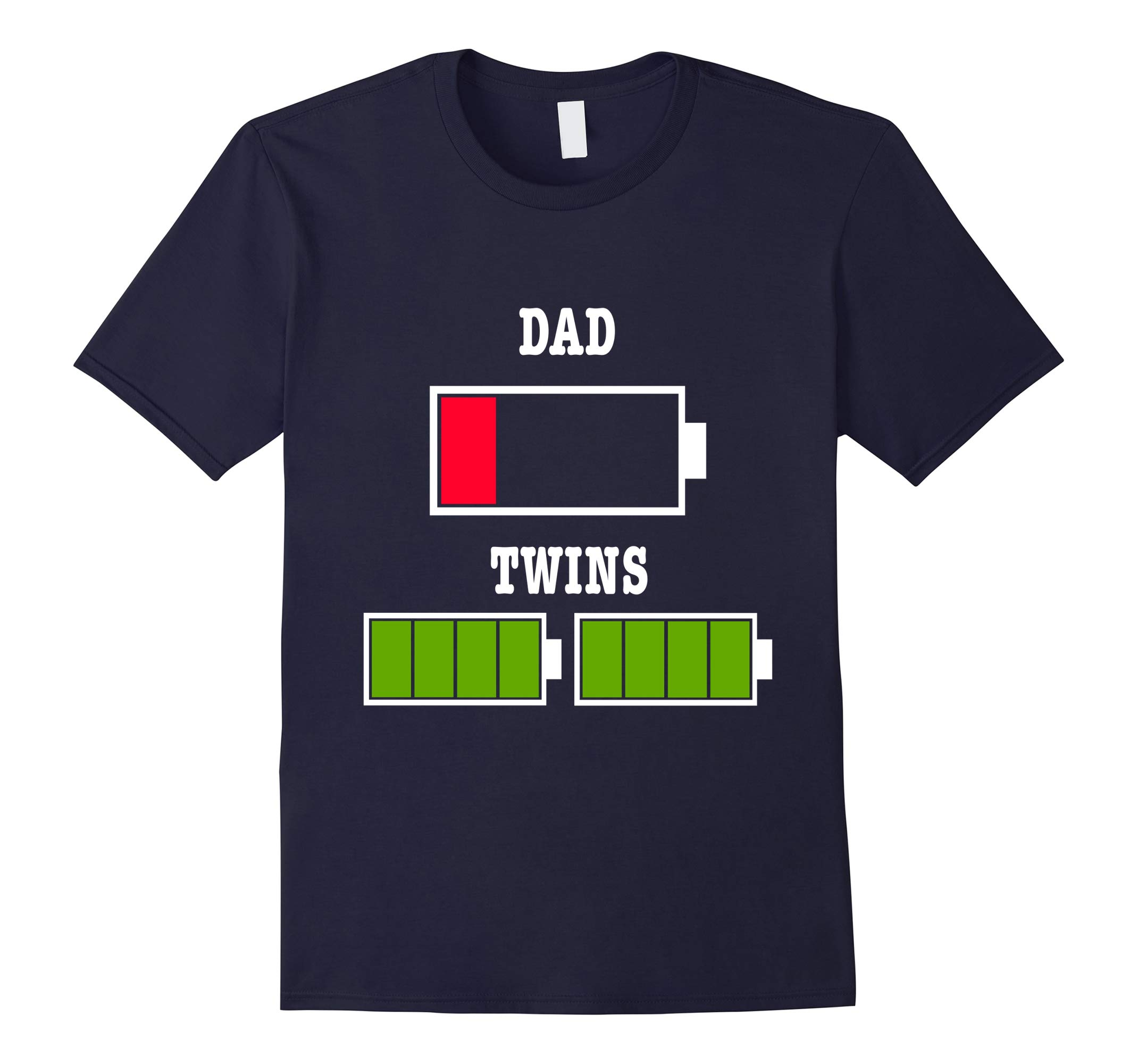 Tired Dad Low Battery Twin Father Father's Day Xmas Gift Tee-RT