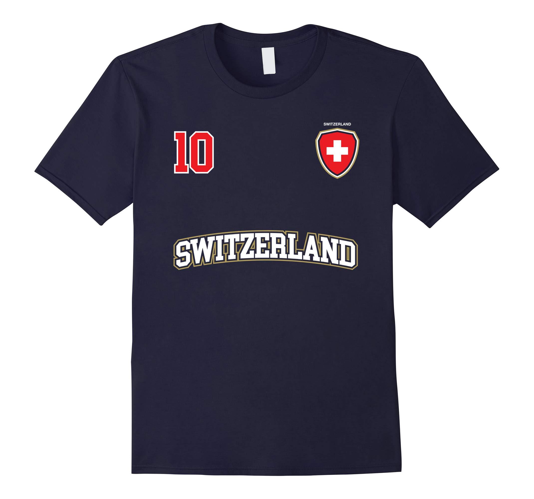 Switzerland Soccer Shirt No. 10 +BACK Sports Team Swiss Flag-RT