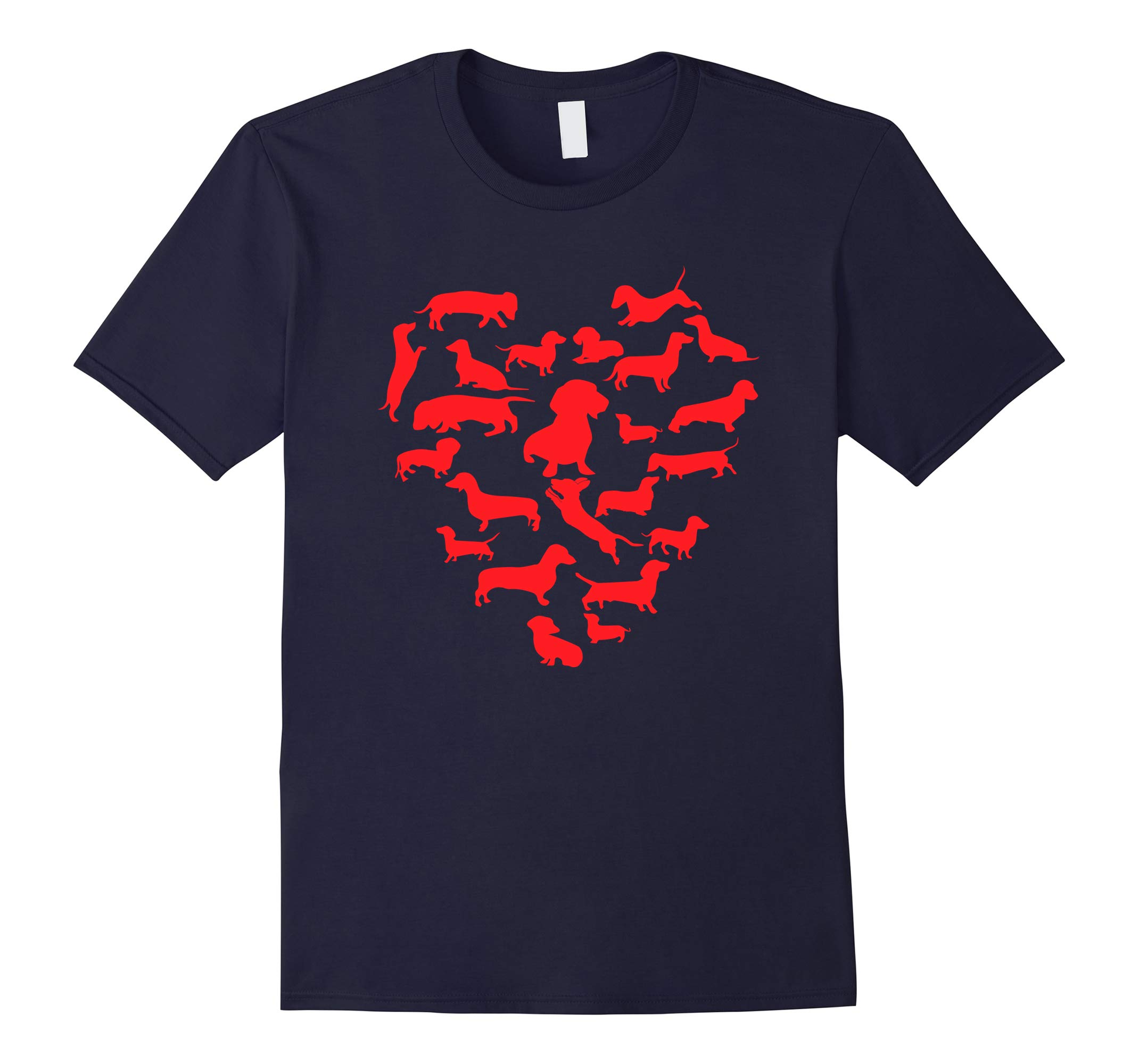 Valentines Day dog T shirt Heart Funny Dachshund T-shirt-RT