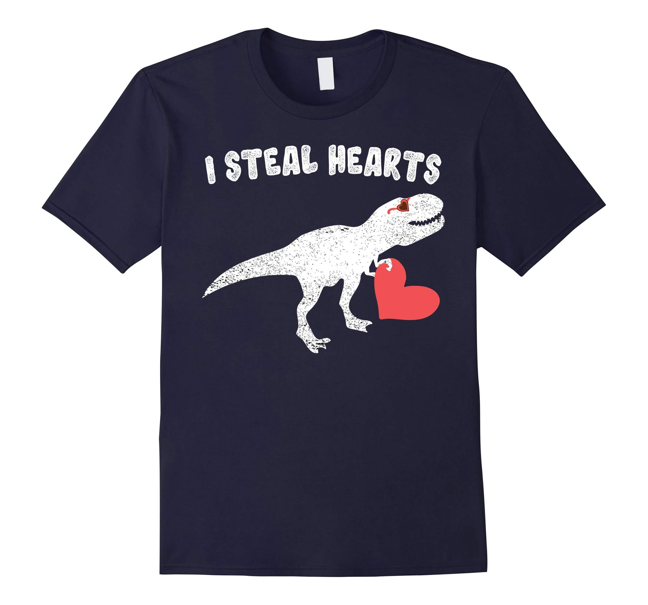 Valentine's Day Dinosaur Holding Red Love Heart Shirt-RT